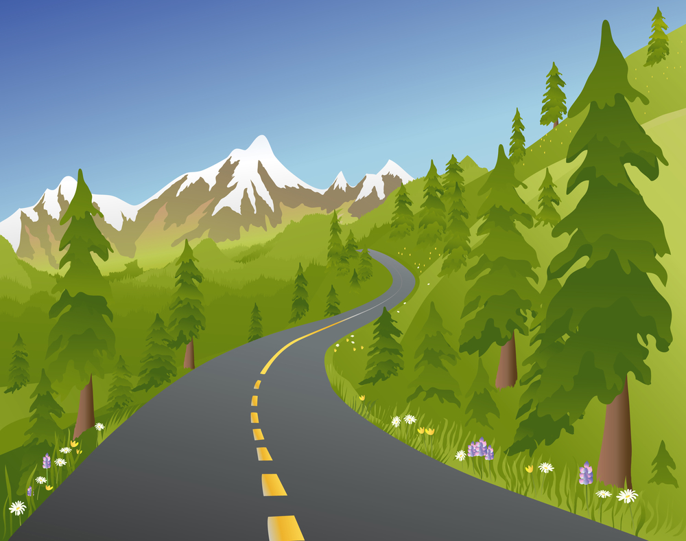 Illustration of a mountain road in the summer