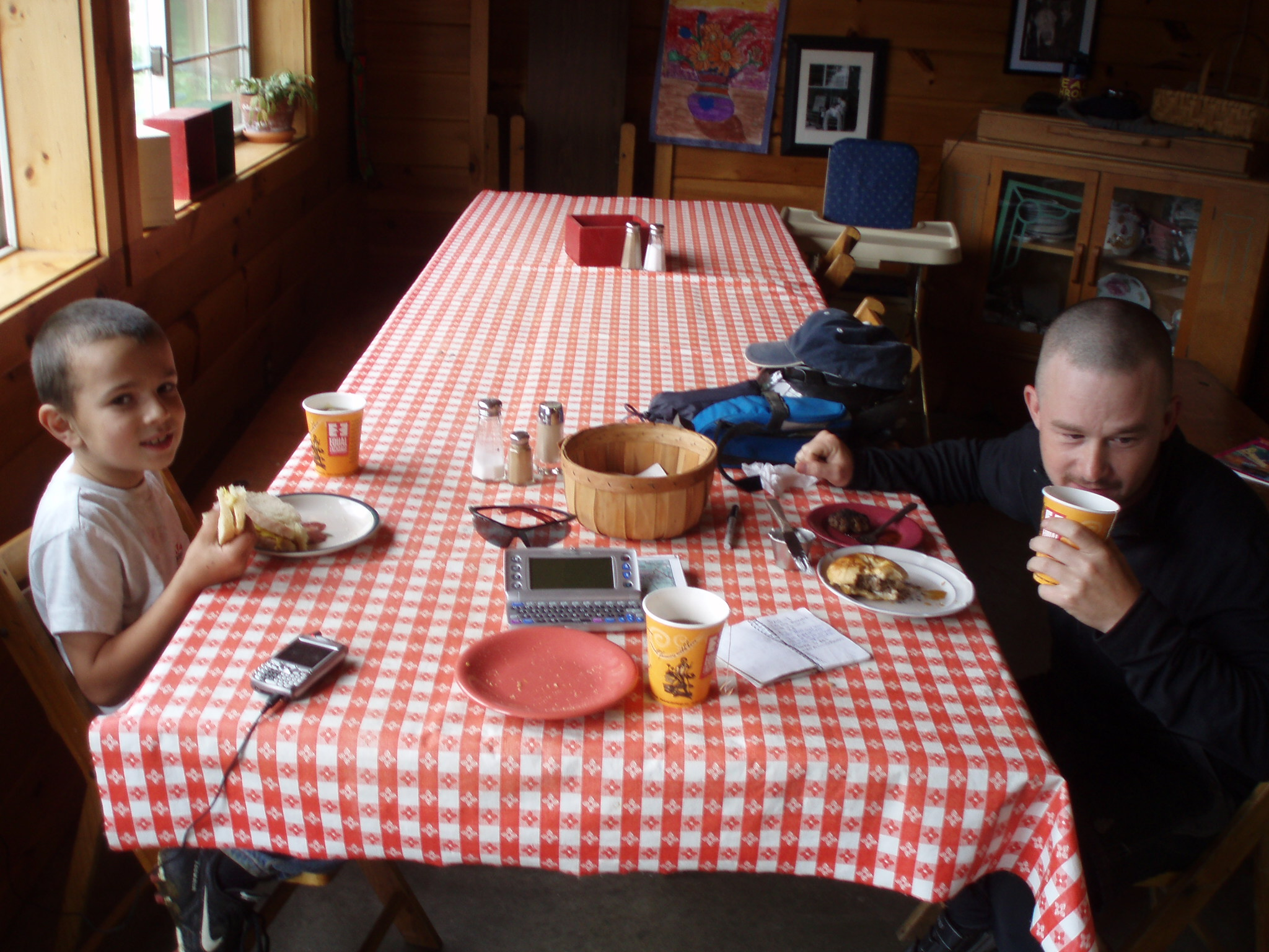 Breakfast at the farmhouse on our long distance bike tour
