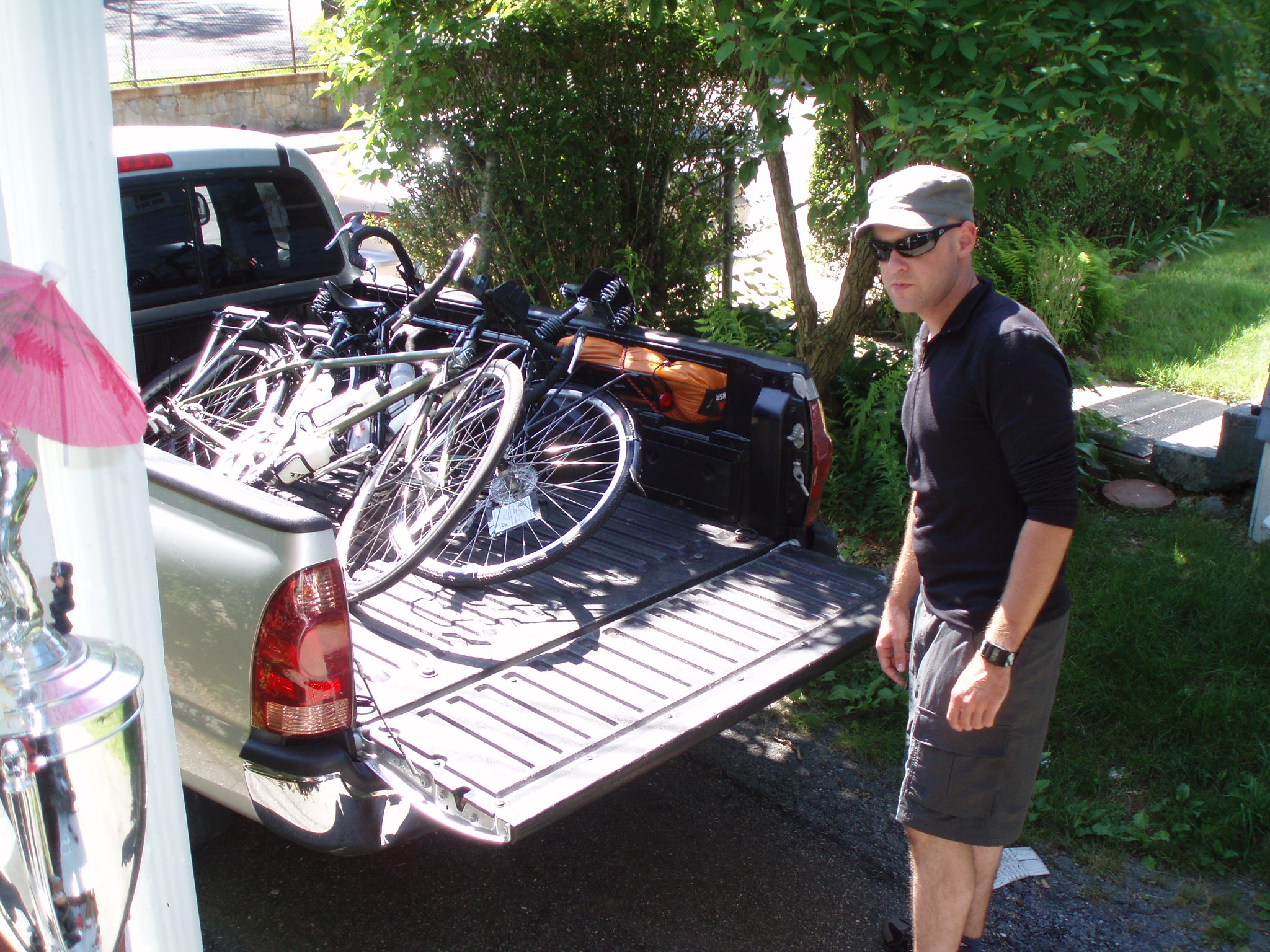 loading down the bikes for bicycle touring