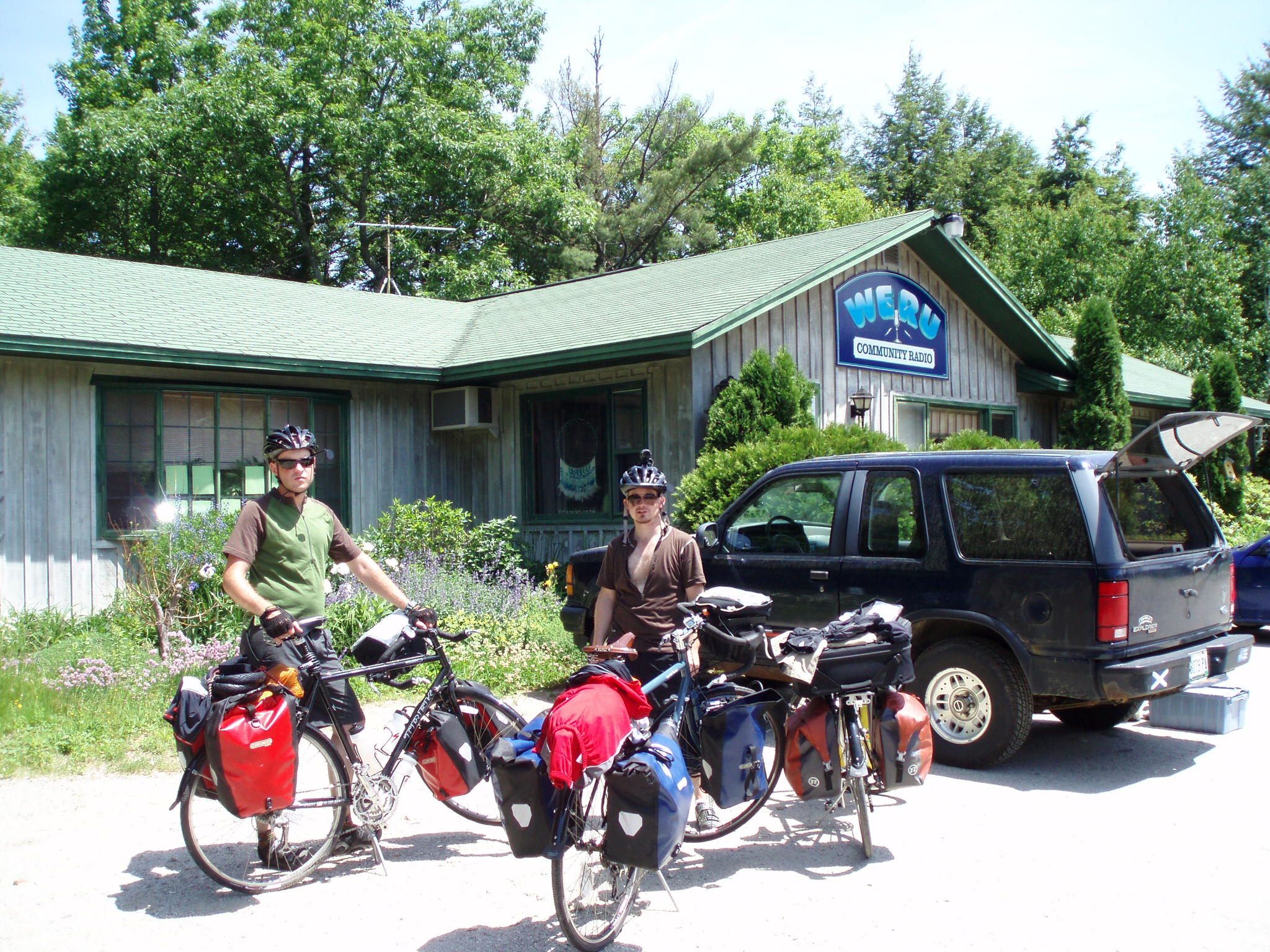 stopping by in front of a radio station during our long distance bike tour