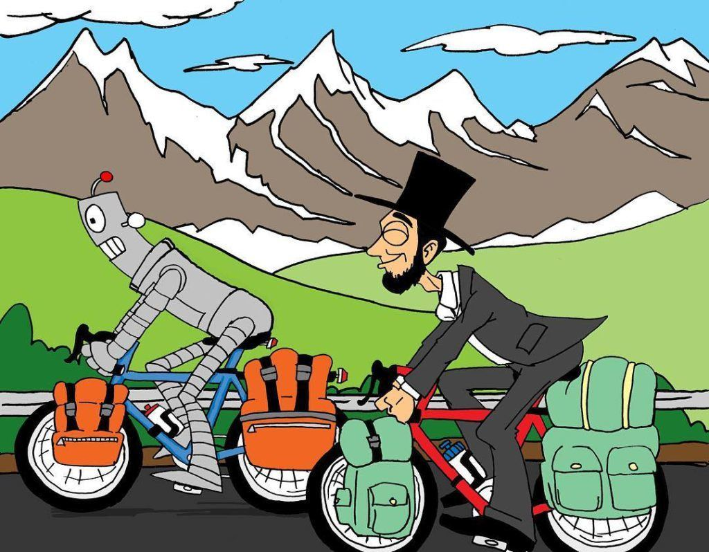 Dude Robot on a bike tour with his friend Abraham Lincoln!!! #duderobot #abrahamlincoln #biketouring #adventurecycling